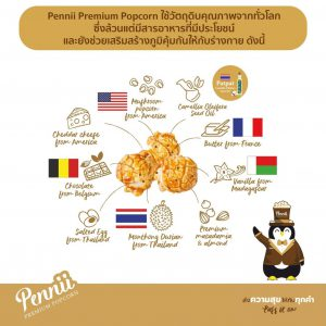 Pennii Premium Popcorn Chocolate กระป๋องเล็ก(85 g)